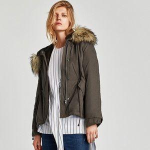Zara NWT parka with faux fur hood.